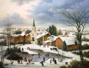 Raphaël Toussaint - Peintre de la Vendée 548-St-Mars-des-Pre%CC%81s-sous-la-neige-1984-hsb-50x65-cm.-300x230
