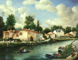 Raphaël Toussaint - Peintre de la Vendée 685-sur-le-Grand-Canal-Coulon-Dans-le-Marais-Poitevin-1991-hsb-50x65-cm.-300x231