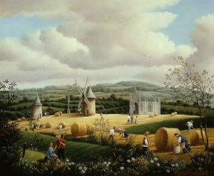 Raphaël Toussaint - Peintre de la Vendée 734-Le-Mont-des-Alouettes-au-champ-de-ble%CC%81-1994-hsb-22x27-cm.-300x247