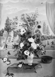 (153)- Bouquet à la table chinoise-1973- hsb 33x24 cm.