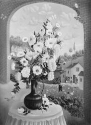 (154)- Bouquet au vase bleu-1973- hsb 33x24 cm.