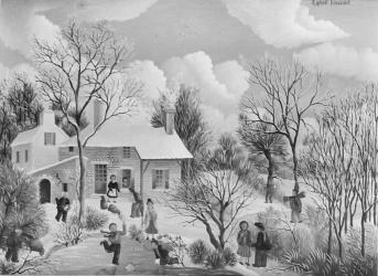 (155)- Ferme vendéenne en hiver-1973- hsb 19x27 cm.