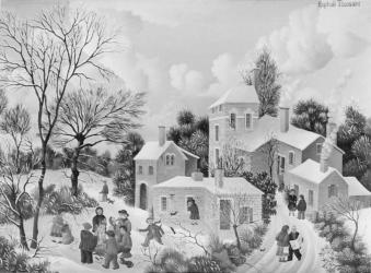 156)- Scène hivernale autour du feu de bois-1973- hsb 19x27 cm.