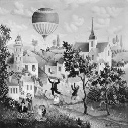 (157)- Fête au village-1973- hsb 30x30 cm.