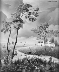 (160)- La Chasse dans le Marais-1973- hsb 27x22 cm.