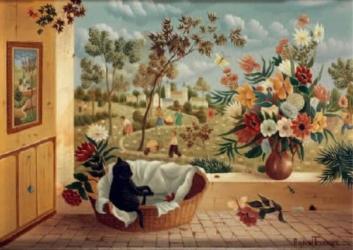 (161)- Chaton dormant ou fleurs au-1973-22x33 cm.-1