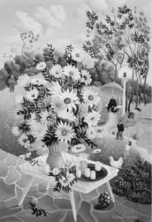 (162)- Bouquet sur table de jardin-1973- hsb 33x22 cm.
