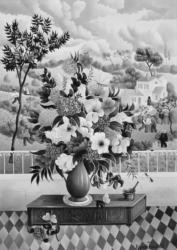 (163)- Bouquet sur coffre vendéen-1973- hsb 33x24 cm.