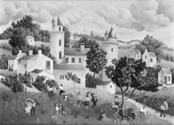 (165)- Danses champêtres devant le Château d'Apremont-1973- hsb 33x46 cm.