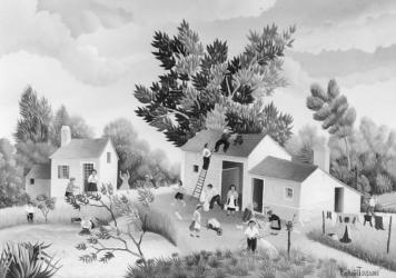 (167)- Village de la Morelière-Bournezeau-Vendée-1973- hsb24x35 cm.