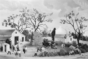 (168)- Dimanche au village-1973- hsb 27x41 cm.