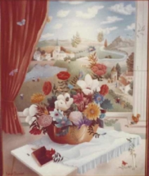 (173)- redressée.Bouquet au traité de peinture-1973-hsb 46x38.