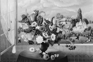 (179)- Bouquet à l'oiseau jaune-1973-hsb 24x35.