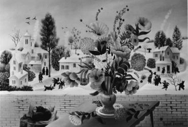 (180)- Bouquet sur fond de neige-1973-hsb 35x24.