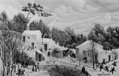 (181)- Paysage de neige à Martinet – Vendée-1974-hsb 24x35.