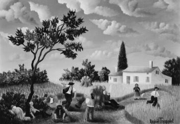 (188)- Dans le champ de blé-1974-hsb 16x24.