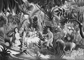 (193)- Au Paradis- La tentation- hsb 19x27.