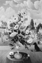 (195)- Bouquet au chien Priam-1974-hsb 35x24.