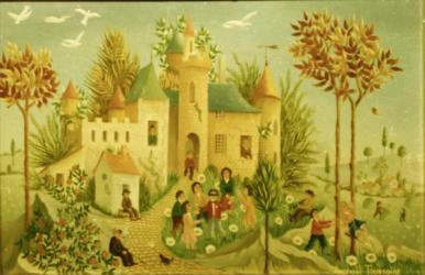 (H.B-42)- Jeux au Château hsb de format 16×24 cm, daté 1970