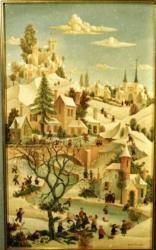 (H.B-44)- Jour de neige hsb de format 55×33 cm, daté 1970